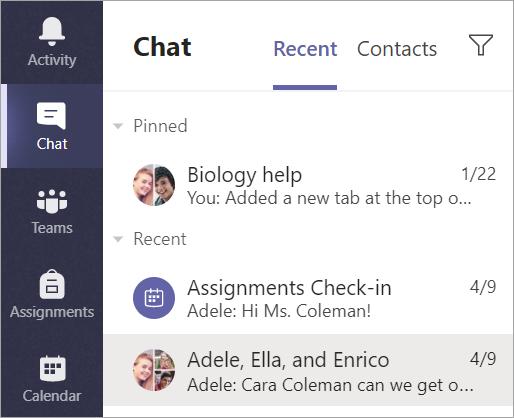 Sélectionnez conversation dans la barre de l'application.
