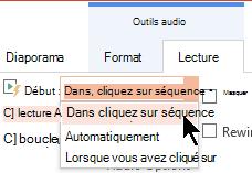 Il existe trois options de démarrage de l'onglet lecture Audio dans PowerPoint 2016