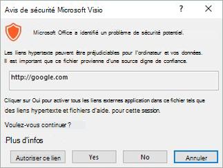 Sélectionnez autoriser ce lien pour ce lien particulier ou Oui pour activer tous les liens pour ce fichier.
