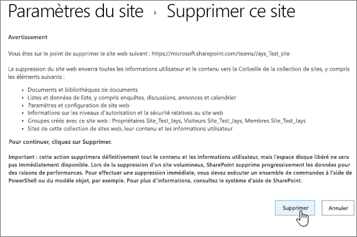 Avertissement de suppression de site et écran de confirmation