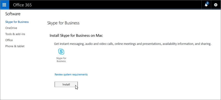 Page d'installation de SkypeEntreprise sur Mac