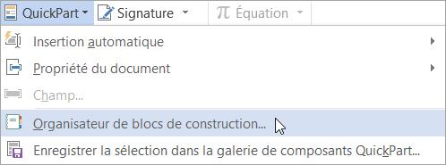 Sélection de l'organisateur de blocs de construction dans le menu QuickPart