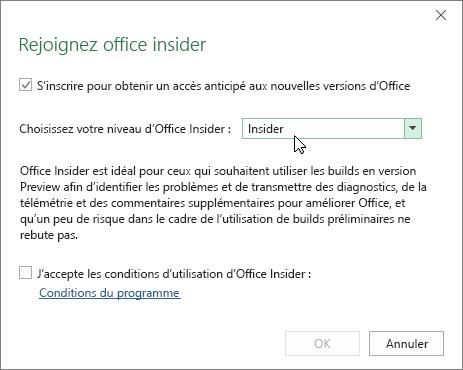Boîte de dialogue Participez au programme Office Insider avec l'option de niveau Insider