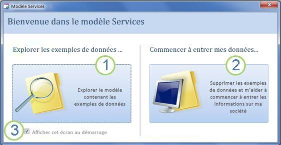 Formulaire de démarrage du modèle de base de données Web Services
