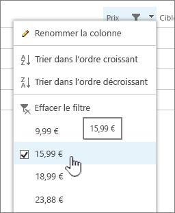 Cliquez sur l'en-tête de colonne, puis sélectionnez la valeur de filtrage.