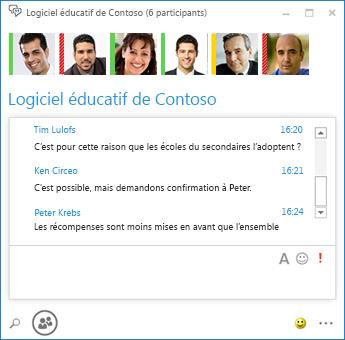 Capture d'écran d'une conversation permanente avec 6participants