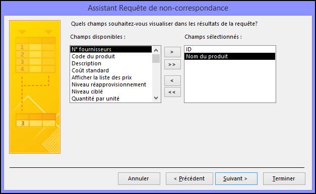 Sélectionnez les champs que vous voulez afficher dans le résultat de la requête dans la boîte de dialogue Assistant Requête de non-correspondance.
