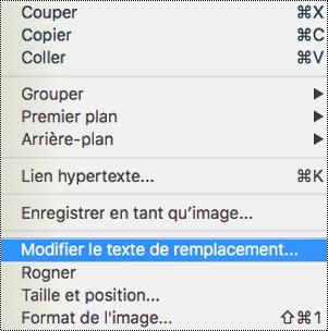 Option Modifier le texte de remplacement du menu contextuel de PowerPoint pour Mac