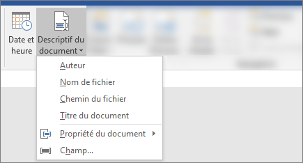 Capture d'écran montrant les boutons informations sur le document et date et heure dans le ruban de Word
