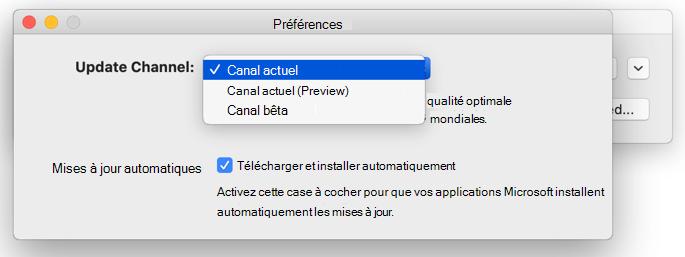 Image de la fenêtre Microsoft AutoUpdate -> Fenêtre de préférences qui affiche les options de canal de mise à jour.