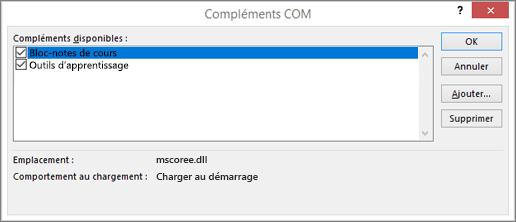 Volet de compléments COM avec le bloc-notes OneNote pour la classe et la case à cocher activée. Boutons OK, Annuler, Ajouter et Supprimer.