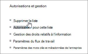 Boîte de dialogue Paramètres liste avec l'option Supprimer cette liste sélectionnée