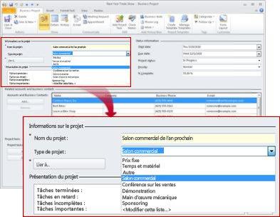 Enregistrement gestion de projet affichant la liste des types de projets