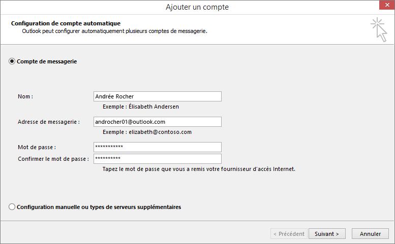 La configuration de compte automatique permet d'ajouter un compte de courrier dans le cadre du profil nouvellement créé pour Outlook