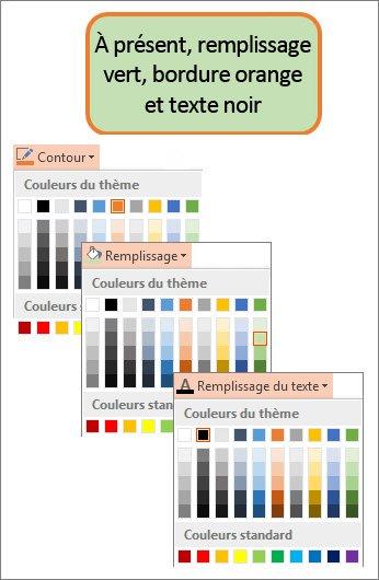 Une forme avec de nouvelles couleurs de remplissage, de texte et de bordure