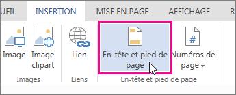 Image du bouton En-tête et pied de page dans Word Web App