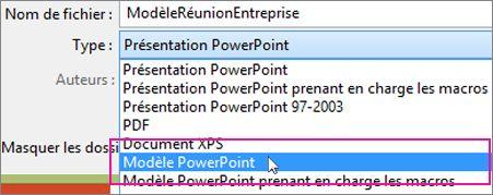 Enregistrer en tant que modèle PowerPoint
