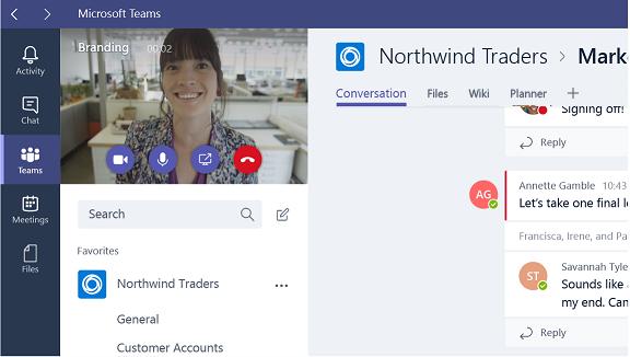 Capture d'écran des options de réunion