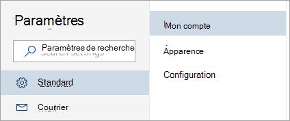Capture d'écran du menu Paramètres complète