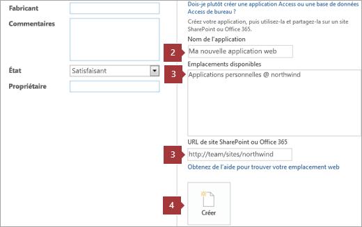Écran de création d'une nouvelle application web Access