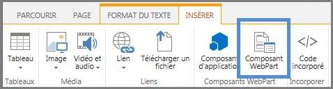 Insérer un composant WebPart