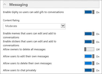Capture d'écran de la page des paramètres de MicrosoftTeams, sous la section Messagerie, à partir de laquelle vous pouvez activer ou désactiver les paramètres pour empêcher ou autoriser l'utilisation d'images GIF, de mèmes et d'autocollants. Dans le cas des images GIF, vous pouvez également définir un contrôle d'accès pour autoriser ou limiter du contenu