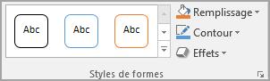 Groupe Styles de formes de Word