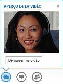 Capture d'écran du démarrage de la vidéo à partir d'un message instantané