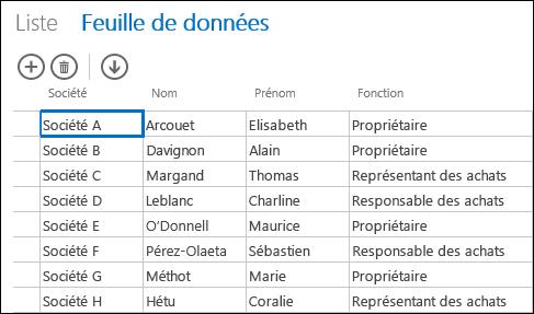 Mode Feuille de données présentant les enregistrements clients