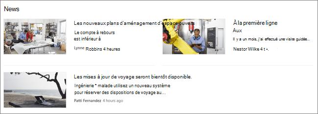 ScreenCap du composant WebPart Actualités d'un site SharePoint, où les publications sont filtrées