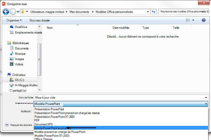 Dans la zone «Enregistrer en tant que type», cliquez sur modèle PowerPoint.