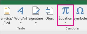 Bouton Équation dans le ruban Excel2016
