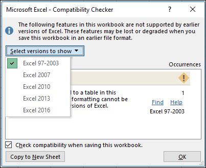 Boîte de dialogue vérificateur de compatibilité Excel