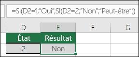 """Utiliser des guillemets ("""""""") pour rechercher les cellules vides - La formule dans la cellule E3 est=SI(D3="""""""";""""Vide"""";""""Non vide"""")"""