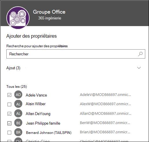 Utilisez cette boîte de dialogue pour sélectionner jusqu'à 10 propriétaires pour gérer votre groupe.