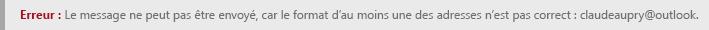 Erreur de mise en forme d'adresse dans Outlook.com.