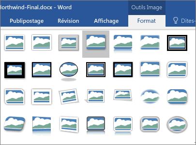 Les options de bordure des images sont affichées.