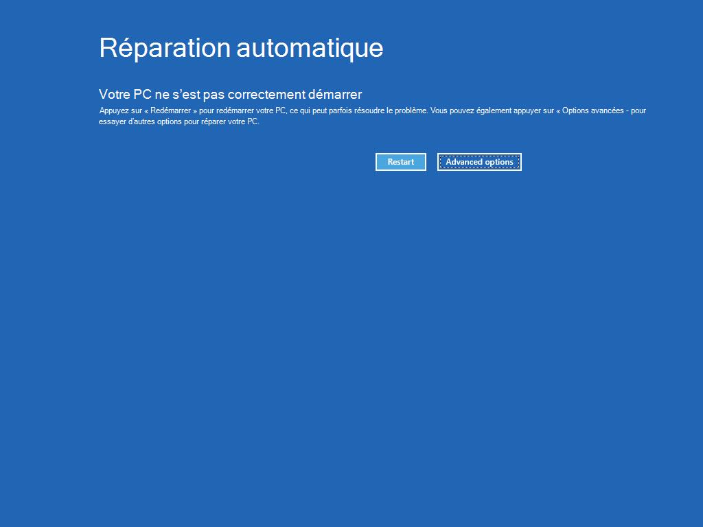 Écran Réparation automatique avec le bouton « Options avancées » mis en évidence