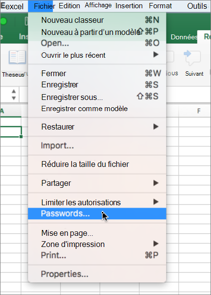 Option de mot de passe dans le menu fichier