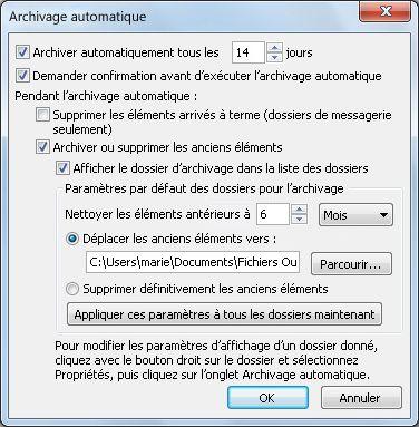 Boîte de dialogue Paramètres d'archivage automatique