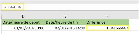 =E84-D84 avec le résultat 1,041666667