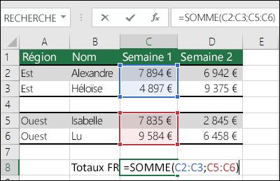 Utilisation de SOMME avec des plages non contiguës.  La cellule incluse dans la cellule C8 est =SOMME(C2:C3,C5:C6). Vous pouvez également utiliser des plages nommées de sorte que la formule soit =SOMME(Semaine1,Semaine2).