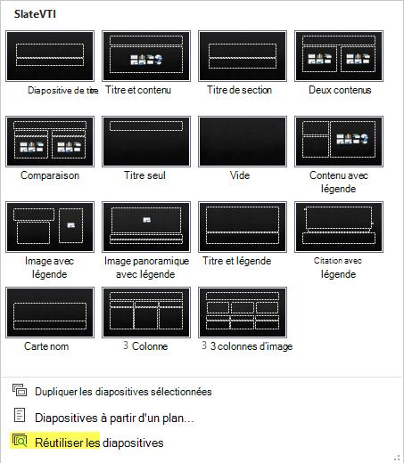Image du menu Nouvelle diapositive avec l'option Réutiliser les diapositives mise en évidence.