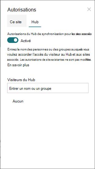 Volet autorisations des hubs, activez le bouton bascule