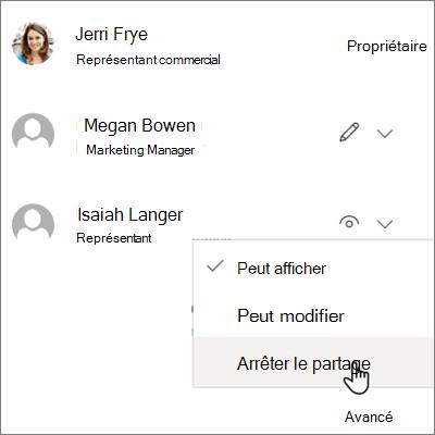 Capture d'écran de l'arrêt d'un partage avec une personne dans OneDrive entreprise