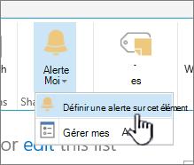 SharePoint 2016 définir une alerte pour un élément avec l'élément sélectionné