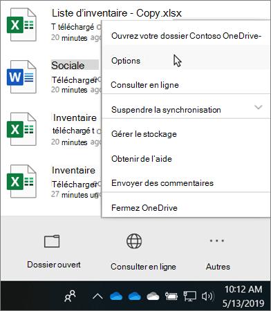 Menu du centre d'activités qui s'affiche lorsque vous cliquez sur l'icône d'éducation OneDrive