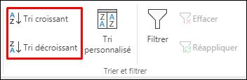 Boutons de tri croissant ou décroissant dans Excel sous l'onglet Données