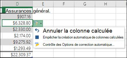 Option pour annuler une colonne calculée après l'avoir une formule a été entrée