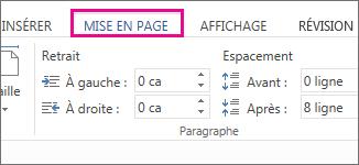 Image des options Retrait et Espacement de l'onglet Mise en Page